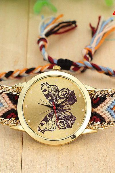Boho fashion butterfly face cloth band teen watch