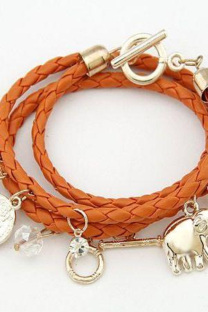 Bangle good luck elephant pendant girl orange bracelet