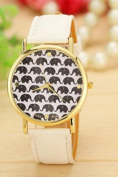 Elephant print face fashion white teen girl watch
