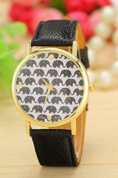 Elephant print face fashion teen girl black watch