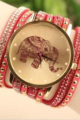 Elephant face wrap pink band rhinestones woman watch