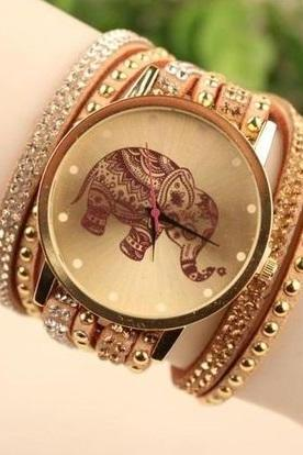 Elephant face wrap brown band rhinestones woman watch