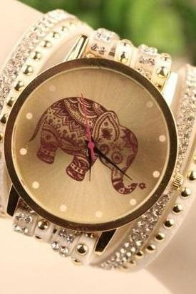 Elephant face wrap white band rhinestones woman watch