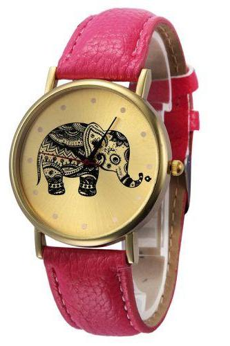 Pu leather band fashion teen unisex pink watch