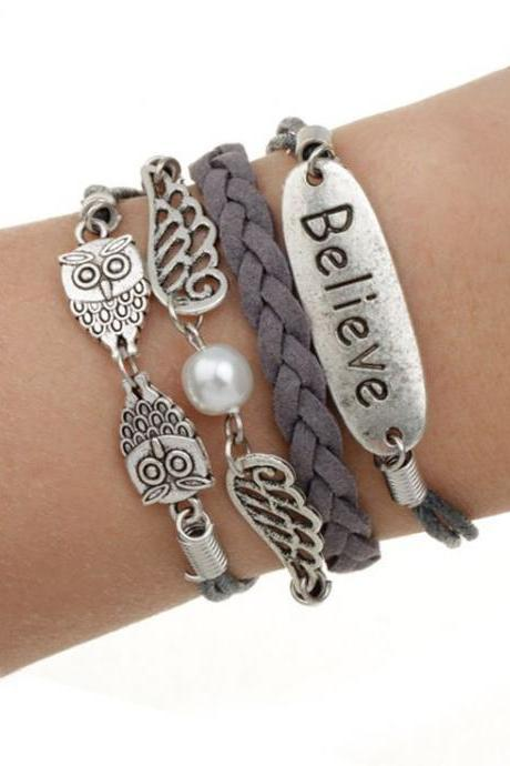Charm multi layer unisex believe bracelet