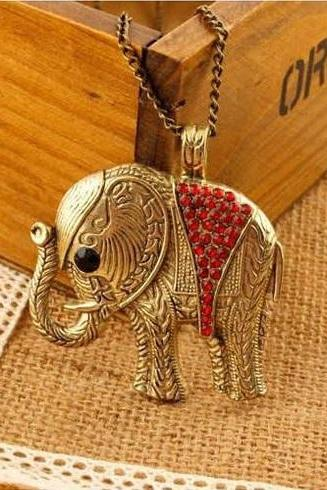 Elephant Pendant Red Crystals Boho Necklace