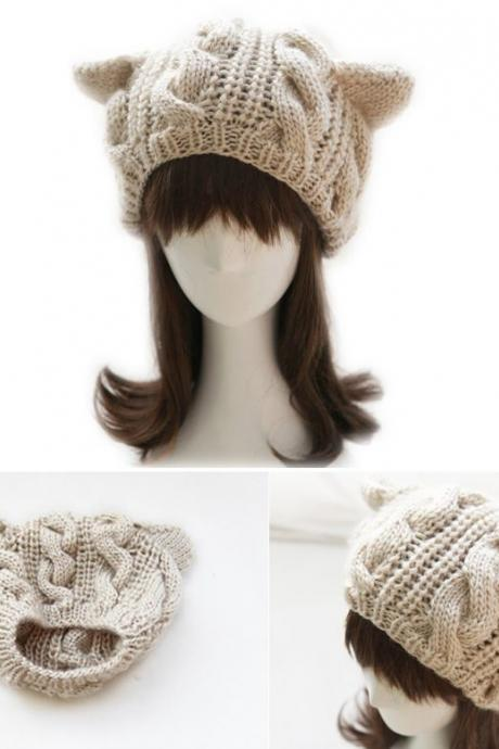 Cat woman ears warm winter beige fashion girl woman hat