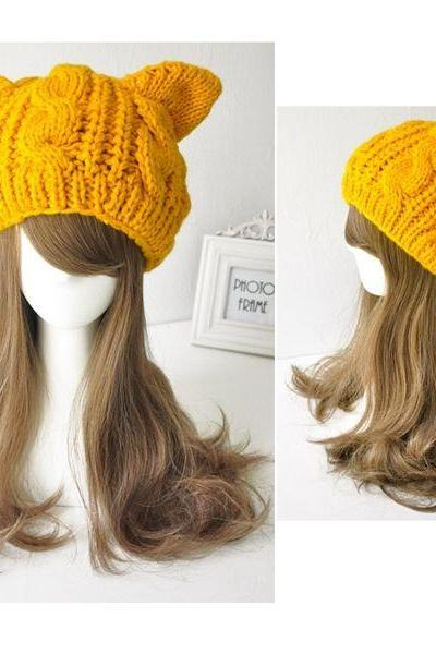Cat woman ears warm winter yellow fashion girl woman hat