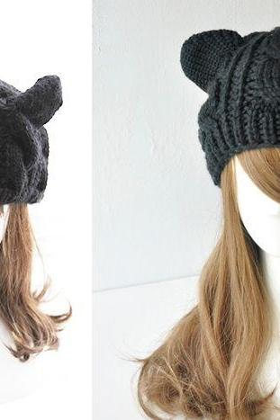 Cat woman ears warm winter black fashion girl woman hat