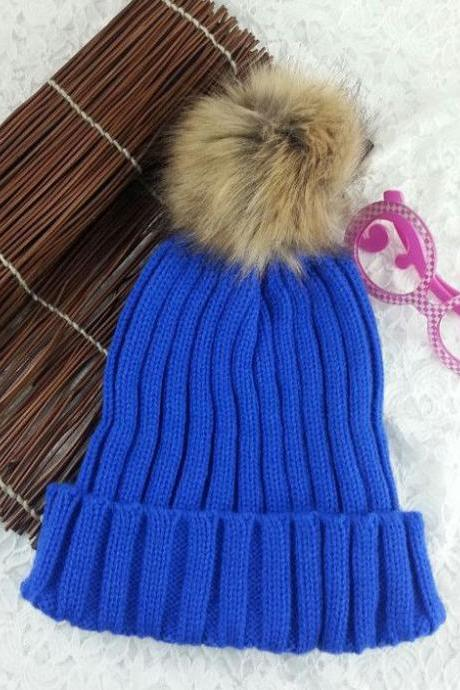 Winter Warm Snow Fun Knitted Cotton Blue Woman Pompon Girl Hat