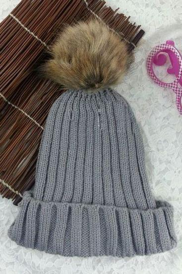 Winter Warm Snow Fun Knitted Cotton Light grey Woman Pompon Girl Hat