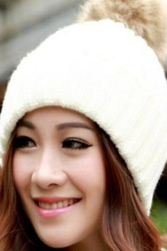 Winter Warm Snow Fun Knitted Cotton White Woman Pompon Girl Hat