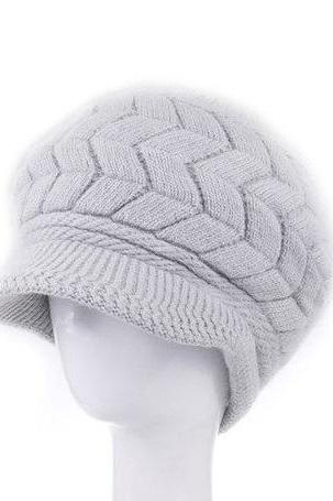 Winter Beanies Knitted fashion woman gray woman hat