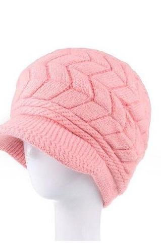 Winter Beanies Knitted fashion woman pink woman hat