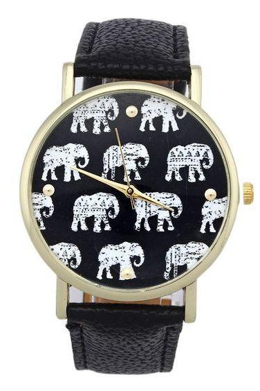 Black Strap Elephnats Design Teen Unisex Girl Watch