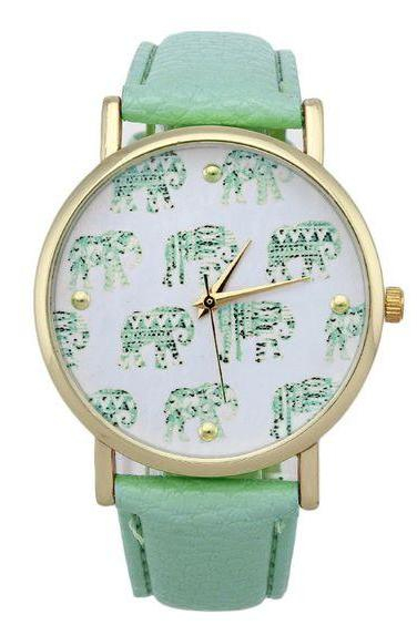 Green Strap Elephnats Design Teen Unisex Girl Watch