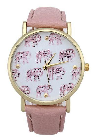 Pink Strap Elephnats Design Teen Unisex Girl Watch