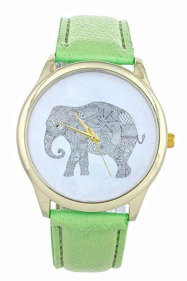 Dress elephant fashion wristwatch woman cool girl mint green band watch