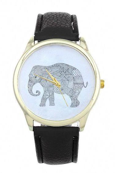 Dress elephant fashion wristwatch woman cool girl black band watch