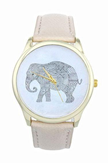 Elephant Print Watch in Beige Band
