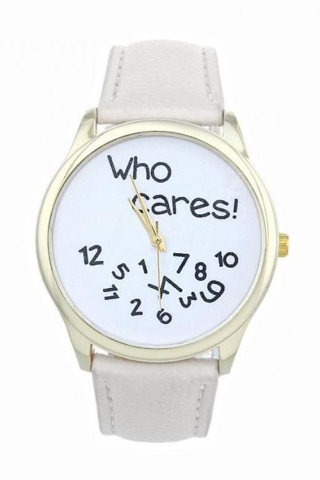 Who cares teen fashion casual wristwatch white woman girl watch