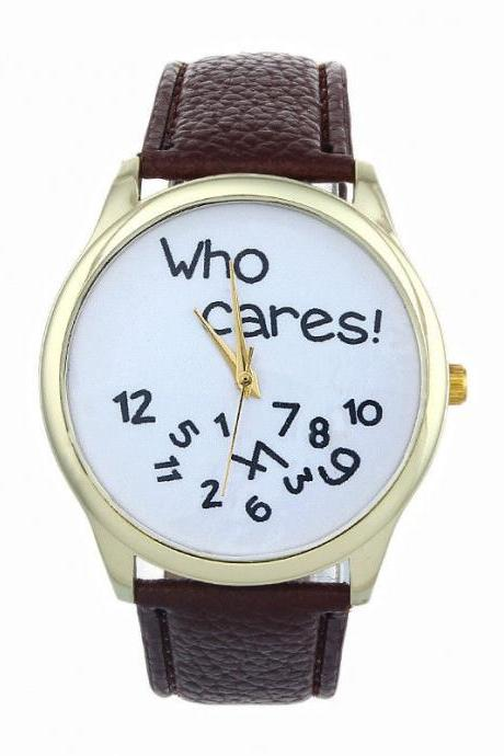 Who cares teen fashion casual wristwatch brown woman girl watch