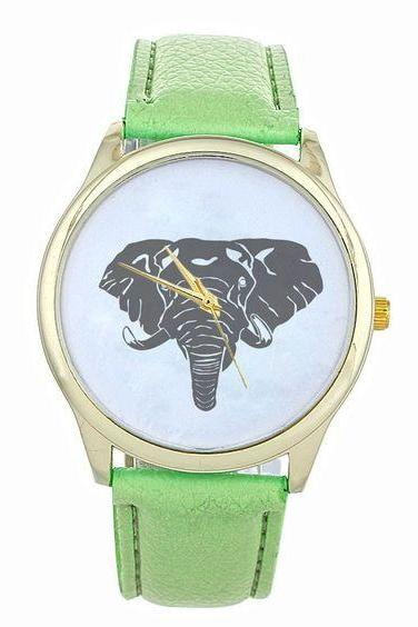 Elephant face teen good luck cool girl fashion unisex black mint green watch