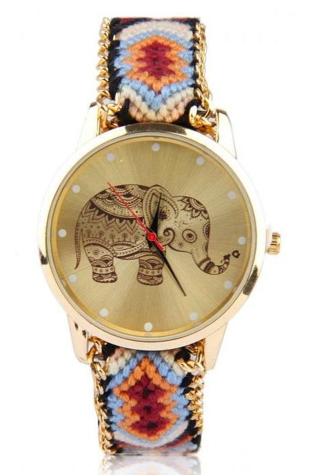 Colorful cloth friendship band man woman unisex wrist elephant watch