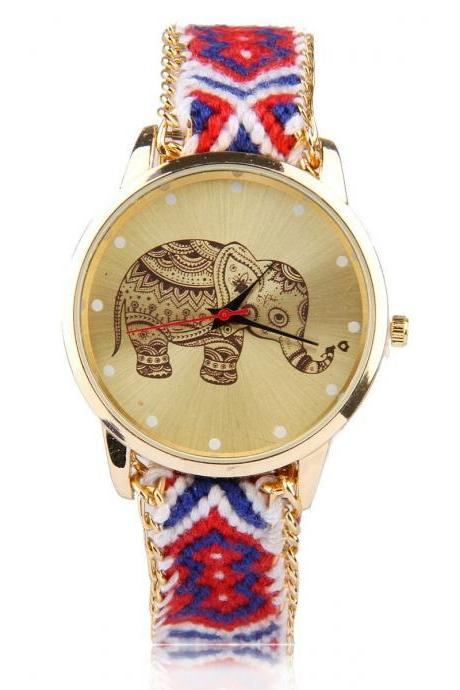 Red-blue knitted friendship band elephant girl watch
