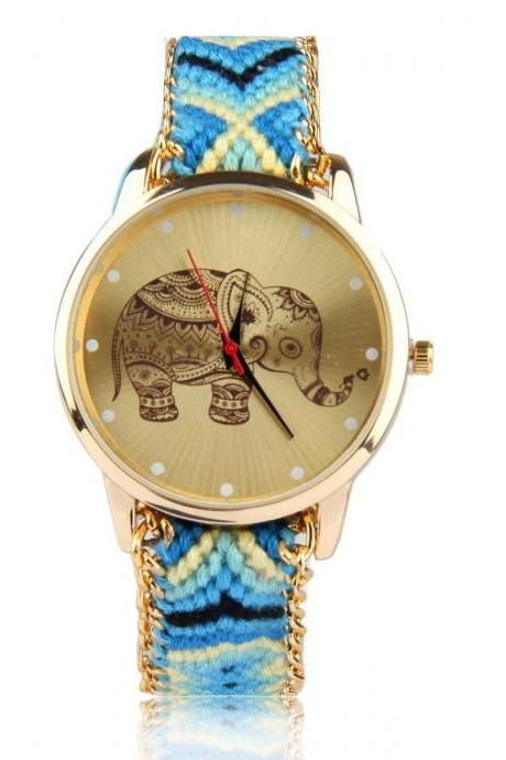 Blue-yellow cloth friendship strap girl watch