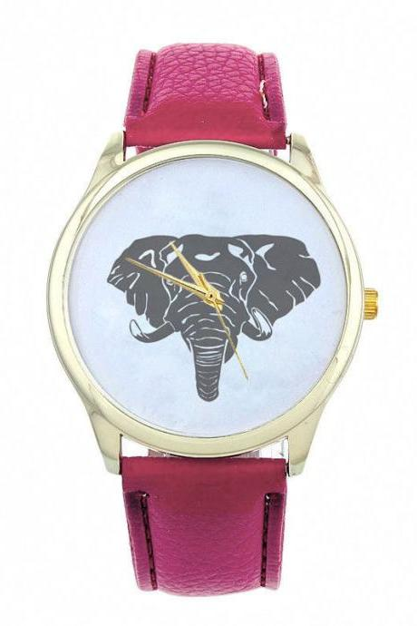 Elephant Face Teen Good Luck Cool Girl Fashion Unisex Purple Band Watch