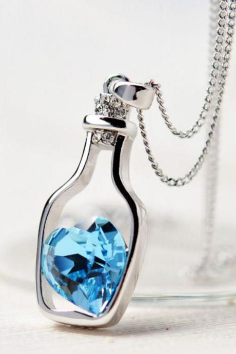 Blue crystal in bottle love pendant woman necklace