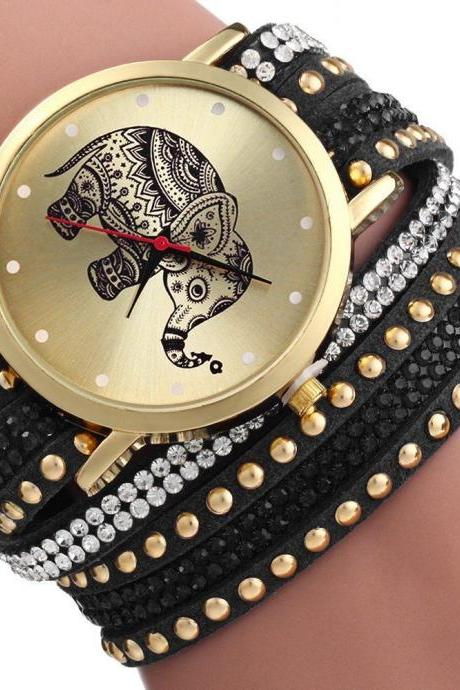 Rhinestones black band fashion elephant girl teen woman watch