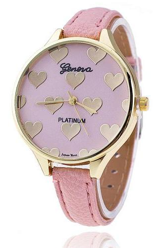 Fashion pink hearts love valentine gift girl woman wristwatch