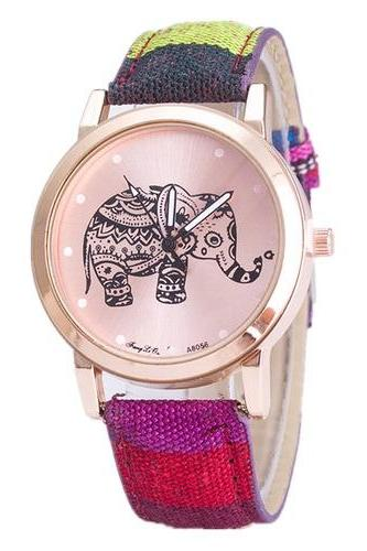 Boho fashion colorful elephant case wrist watch