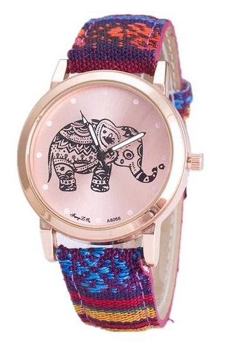 Colorful Festival Woman Teen Girl Fashion Elephant Watch