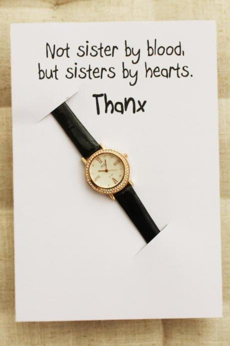 Rhinestones Black band Gift Card Sisters by Hearts Best Friend Gift Fashion Wristwatch