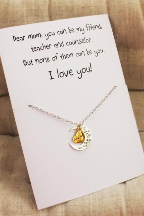Love you Mom Woman Pendant Stone Necklace