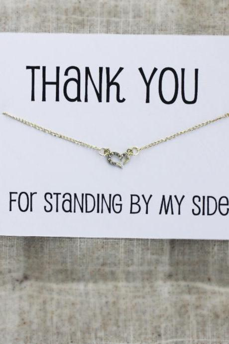Thank You For Standing On My Side Friend adn Family Pendant Stone Necklace
