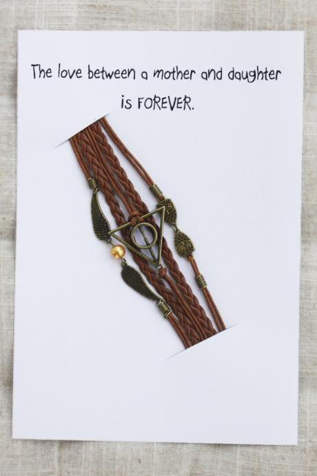The Love between a Mother and Daughter Gift Card Unisex brown Firnedship Bracelet