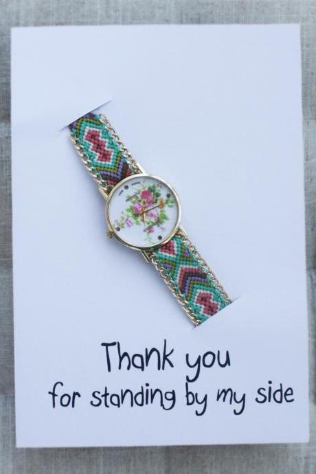 Hippie Band Friendship Rose floral Wrist Gift Card Watch
