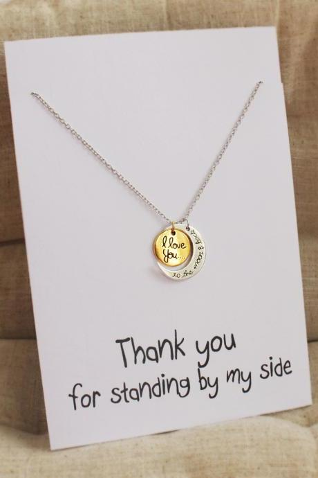 Thanks for Standing by my Side Gift Card Pendant jewelry fashion holiday I love you necklace