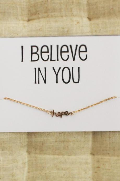I believe in You gift card for friends and family charm girl hope pendant bracelet