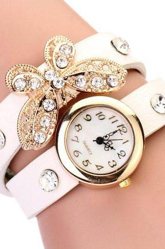 Rhinestones Butterfly Fashion Wristwatch Wrap Woman White Band Watch