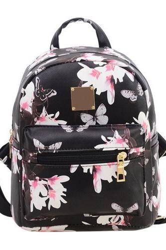 Floral Pu leather black school girl fashion woman travel bag softback backpack