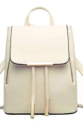 Cream Leather Backpack with Gold Zipper and Tassel Detailing