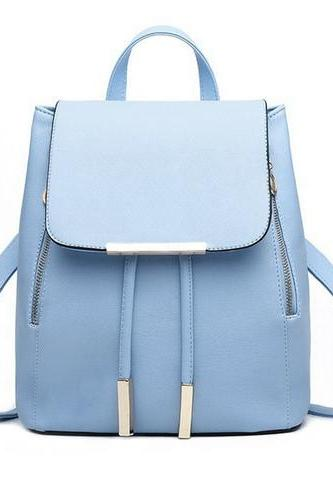 Fashion Elegant Fashion Girl School Travel Softback Pu Leather Teenage Vintage Blue Backpack