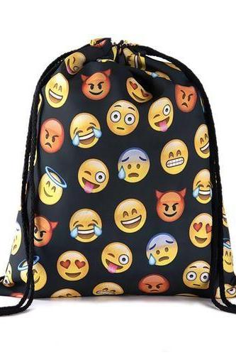 Travel School Girl Teenage Casual Emoji Design Drawstring Bag Woman Softback Backpack