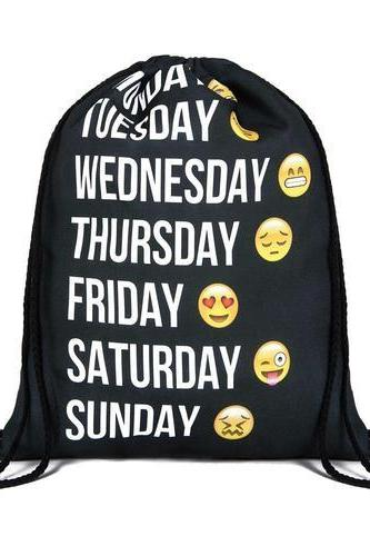 Travel School Girl Teenage Every Day of Week Emoji Design Drawstring Bag Woman Softback Backpack