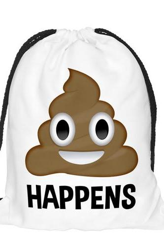 Travel School Girl Teenage Casual Funny Emoji Design Drawstring Bag Woman Softback Backpack